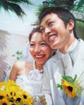 結婚式の油絵肖像画